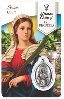 HEALING ST LUCY PRAYER CARD WITH MEDAL