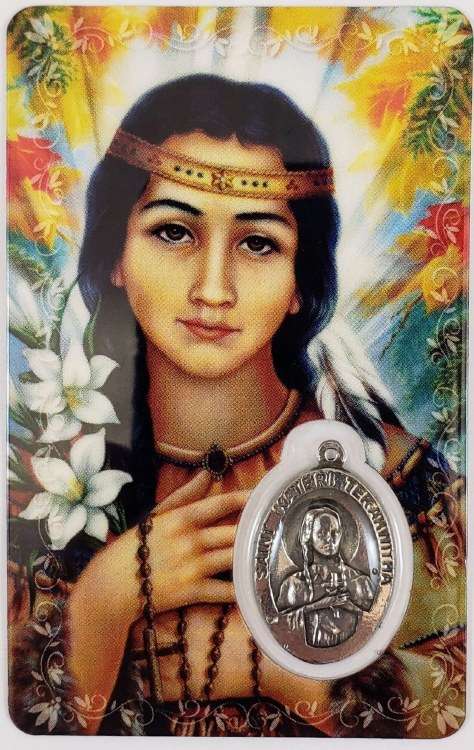 KATERI TEKAKWITHA PRAYER CARD WITH MEDAL
