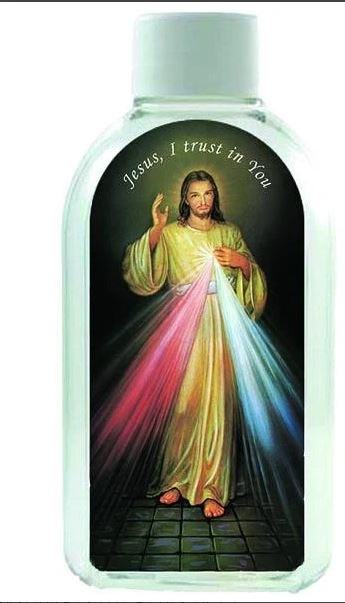 LARGE HOLY WATER BOTTLE WITH DIVINE MERCY IMAGE