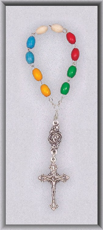 MULTI COLOR WOOD ONE DECADE ROSARY