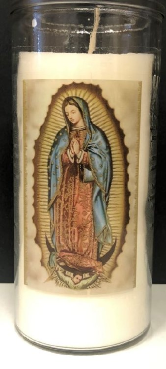 "OUR LADY OF GUADALUPE 6"" CANDLE"