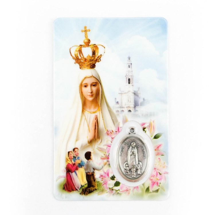 OUR LADY OF FATIMA PRAYER CARD WITH MEDAL