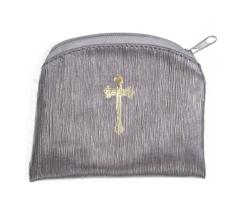 PEWTER RAW SILK GOLD STAMPED ROSARY CASE