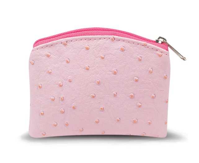 PINK OSTRICH SKIN PATTERN ROSARY POUCH