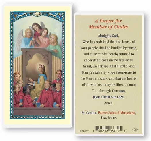 CHOIR- ST CECILIA PRAYER CARD