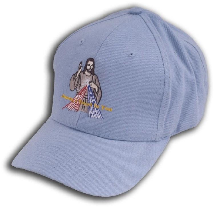 Divine Mercy Embroidered Hat -Powder Blue