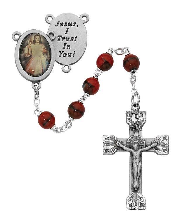 RED DIVINE MERCY PEWTER ROSARY