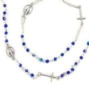 ROSARY NECKLACE & BRACELET BLUE