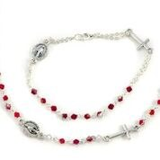 ROSARY NECKLACE & BRACELET RED