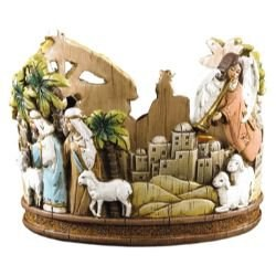 ROUND NATIVITY ADVENT CANDLE HOLDER