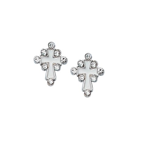 SILVER WHITE CRYSTAL CROSS