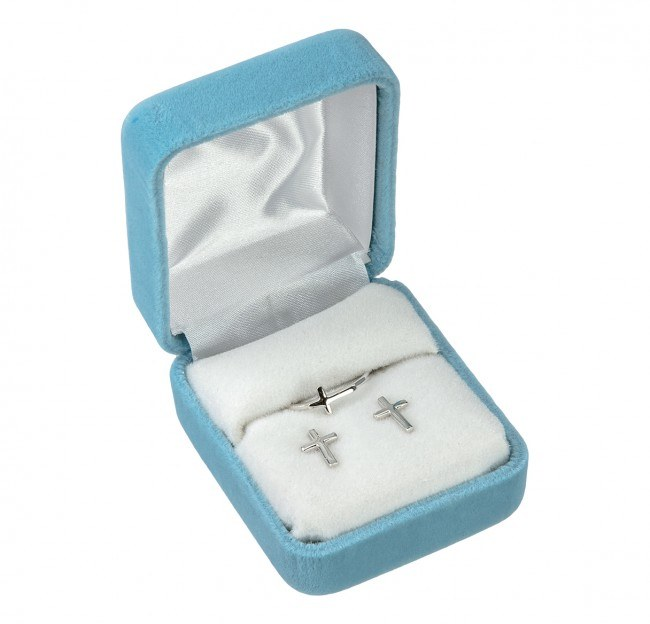 SS CROSS EARRING AND RING SET
