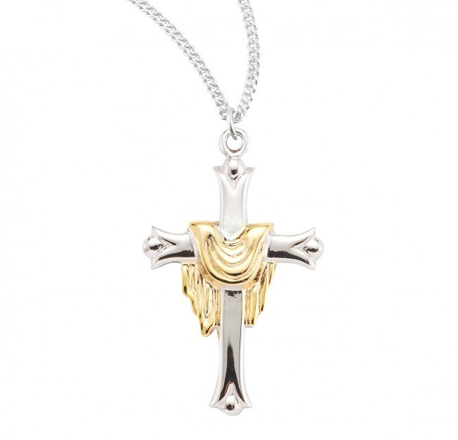SS CROSS WITH GOLD PLATED ROBE