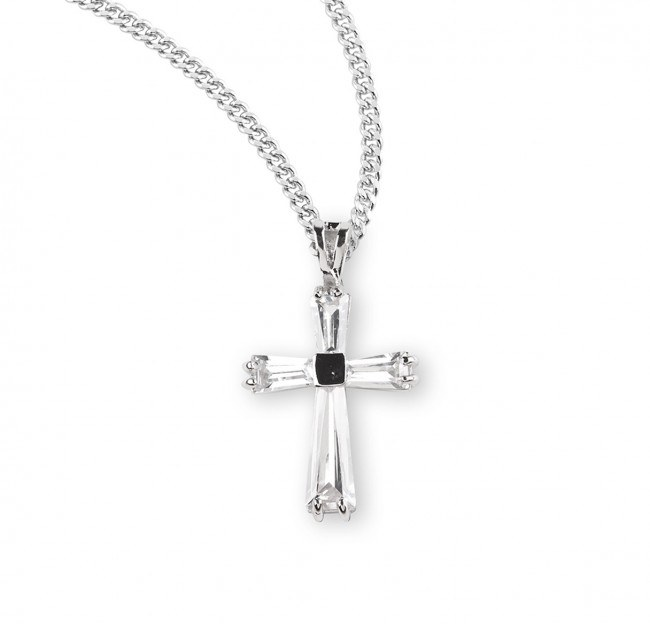 SS CRYSTAL CUBIC ZIRCONIA CROSS