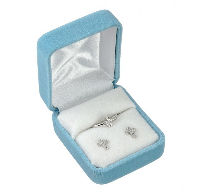 SS CZ CROSS EARRING AND RING SET