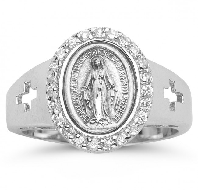 SS MIRACULOUS MEDAL CZ RING SIZE 7