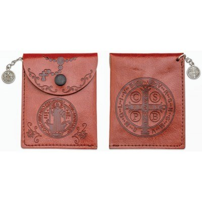 ST BENEDICT ROSARY POUCH FAUX LEATHER