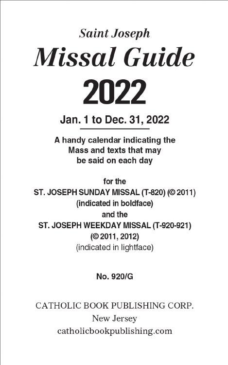 ST JOSEPH MISSAL GUIDE