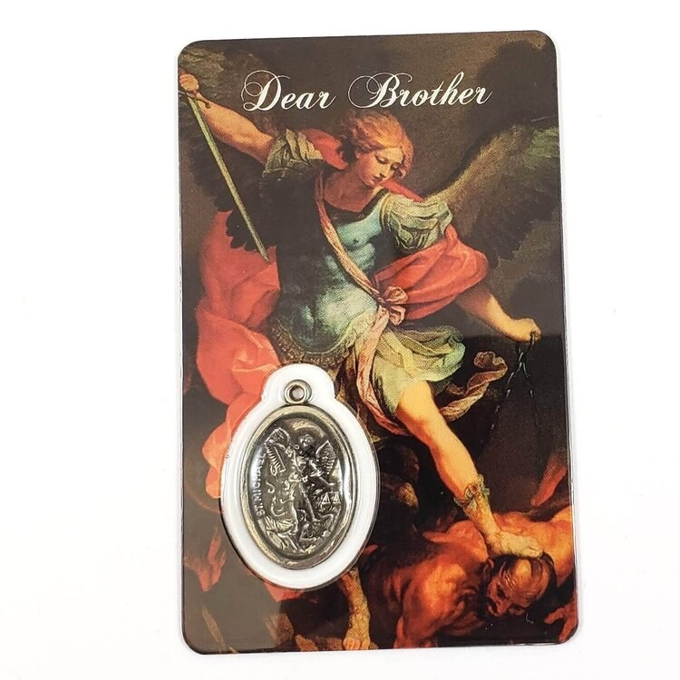 ST MICHAEL PRAYER CARD WITH MEDAL - DEAR BROTHER