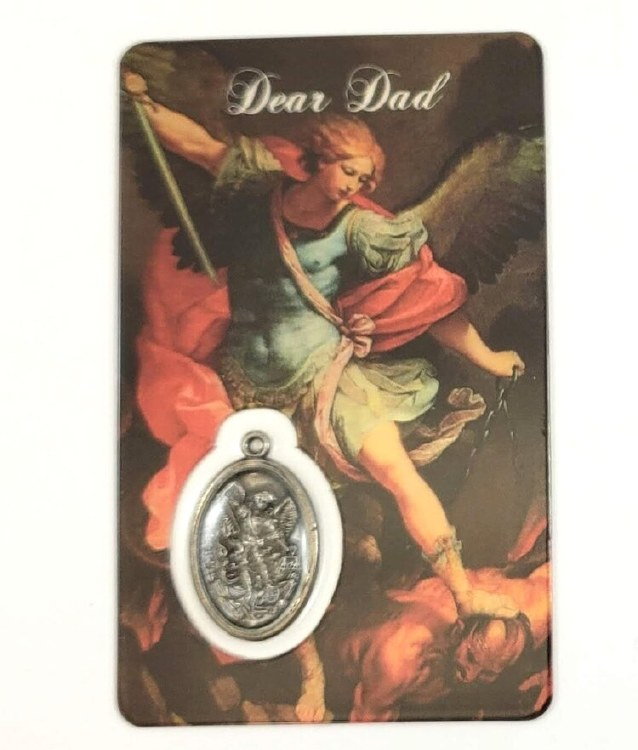 ST MICHAEL PRAYER CARD WITH MEDAL - DEAR DAD