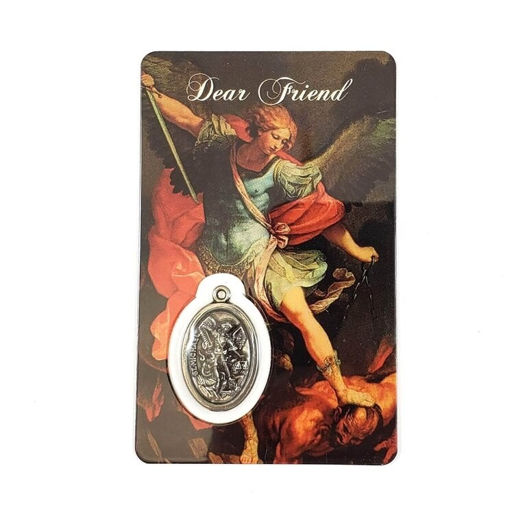 ST MICHAEL PRAYER CARD WITH MEDAL - DEAR FRIEND
