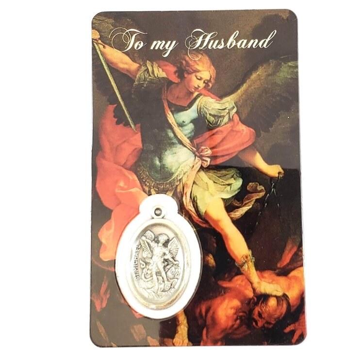 ST MICHAEL PRAYER CARD WITH MEDAL - DEAR HUSBAND