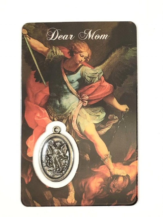 ST MICHAEL PRAYER CARD WITH MEDAL - DEAR MOM