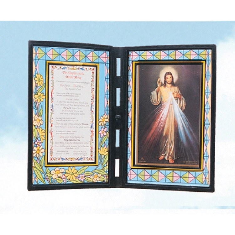STAINED GLASS PLAQUE WITH DIVINE MERCY
