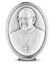 SILVER METAL POPE FRANCIS STANDING MINI PLAQUE