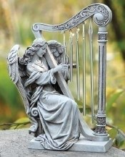 ANGEL WITH HARP CHIMES