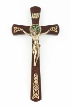 WALNUT CELTIC ROSEWOOD GOLD CRUCIFIX
