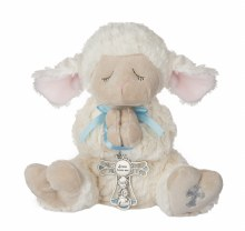 "13"" LAMB WITH BLUE CRIB MEDAL"