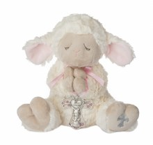 "13"" LAMB WITH PINK CRIB MEDAL"