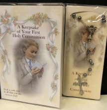 KEEPSAKE OF YOUR FIRST HOLY COMMUNION BOOKLET AND HEMATITE ROSARY
