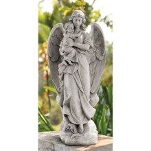 GUARDIAN ANGEL WITH INFANT GARDEN STATUE