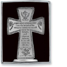 "3"" 1ST COMMUNION PEWTER STANDING CROSS"