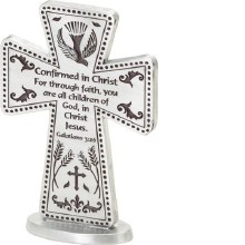 "3"" CONFIRMATION PEWTER STANDING CROSS"