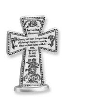 "3"" IN LOVING MEMORY PEWTER STANDING CROSS"