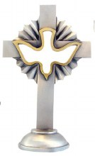 PEWTER STANDING DOVE CUTOUT CROSS