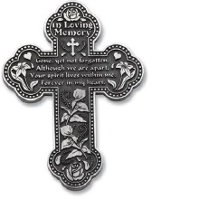 "5.5"" LOVING MEMORY PEWTER WALL CROSS"