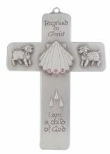 BAPTISMAL MESSAGE PINK CRYSTAL WALL CROSS