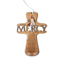 "6"" LASER CUT DIVINE MERCY WOOD CROSS WITH CHAPLET"