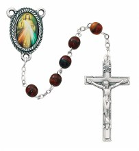 RED MARBLE DIVINE MERCY ROSARY