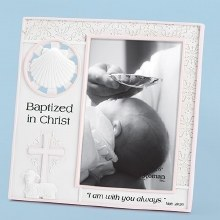 """7.25"""" GIRL BAPTISM FRAME 4X6 P"""
