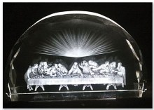 "7"" ETCHED GLASS LAST SUPPER"