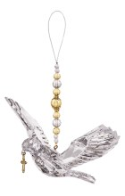 """7"""" HANGING DOVE W/GOLD BEADS"""