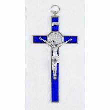 ST BENEDICT BLUE ENAMEL CRUCIFIX