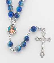 BLUE ROUND MARBLE FINISHED BEAD ROSARY