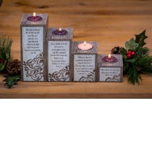 LOVE HOPE PEACE JOY PILLAR ADVENT SET WITH TEA LIGHTS