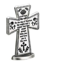 "3"" BAPTISM STANDING PEWTER CROSS"